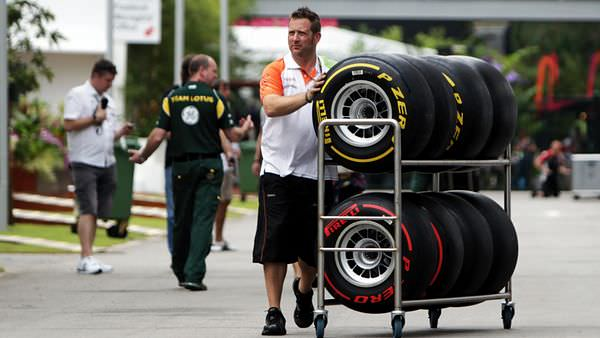 Force India gather their tyres for the upcoming weekend