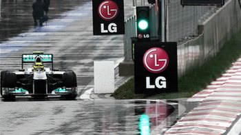 Rosberg tentatively exits the pits in Korea