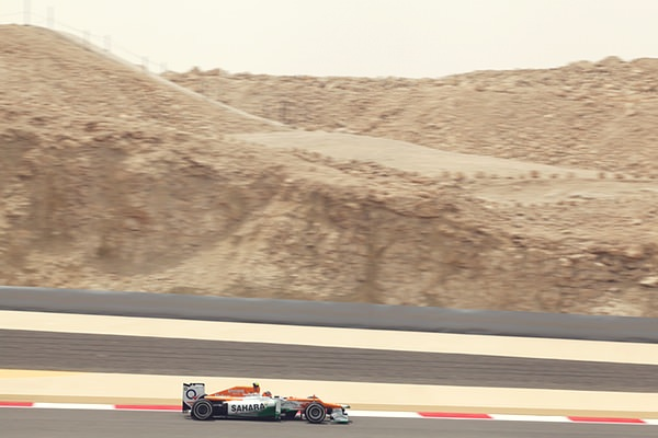 Force India in the sand