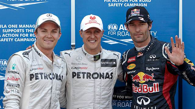 Schumacher qualifies first, but Webber will line up on pole