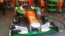 Force India in the garage