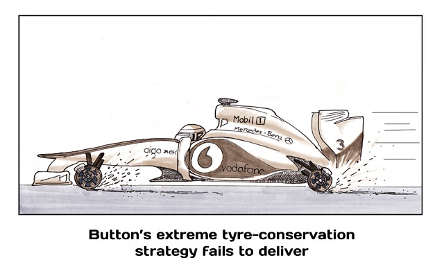 Button's extreme tyre-conservation strategy fails to deliver