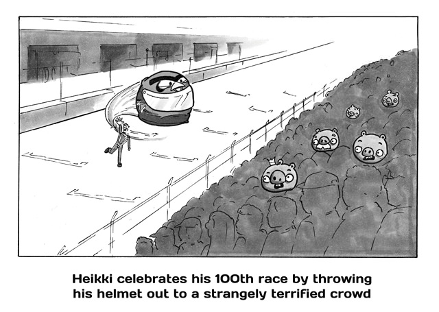 Heikki celebrates his 100th Grand Prix