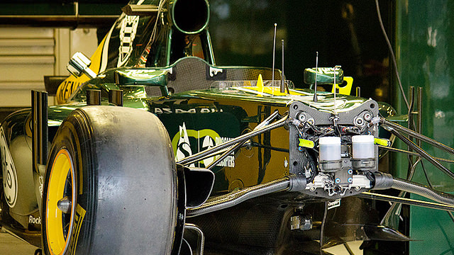 Caterham in a state of undress in the garage