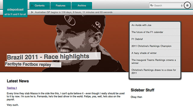 An early mockup of the revamped Sidepodcast homepage