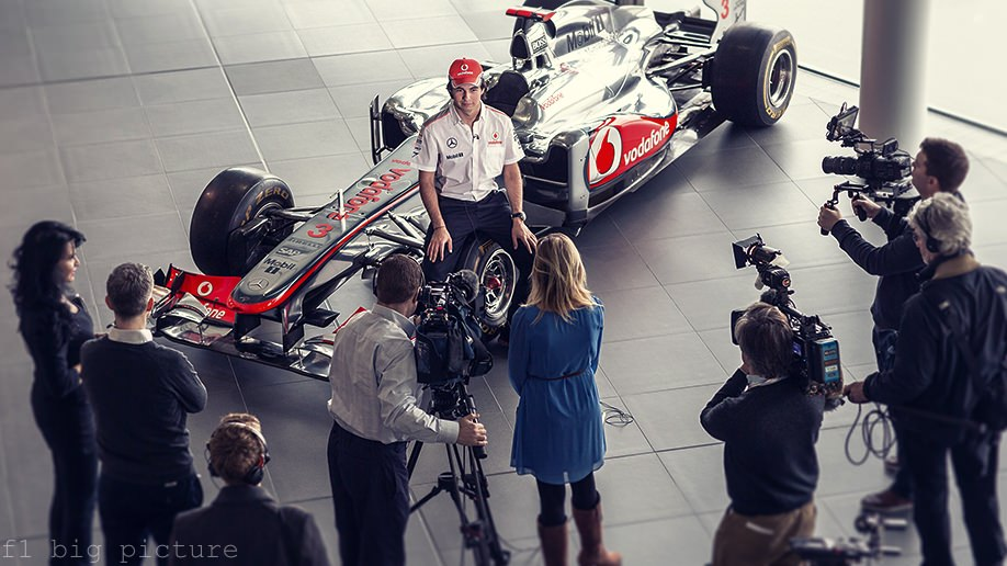 Sergio Pérez faces the media on his first day at McLaren