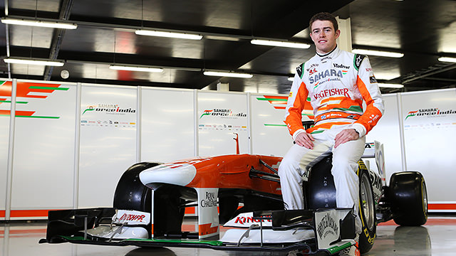 Paul di Resta pulls the covers off the VJM06 for Force India