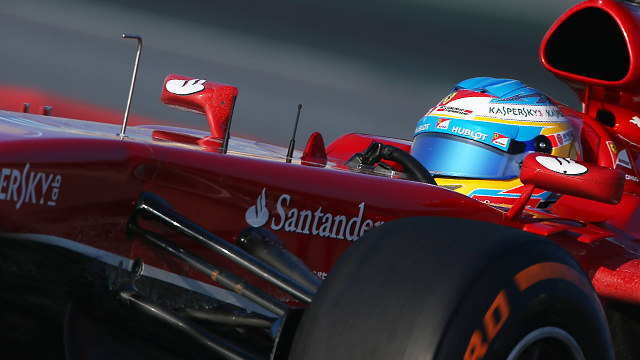 Alonso finally behind the wheel of the new Ferrari