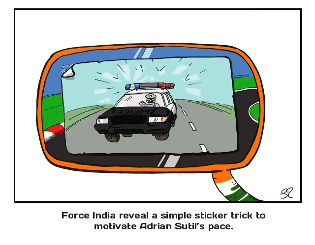 Force India reveal a simple sticker trick to motivate Adrian Sutil's pace