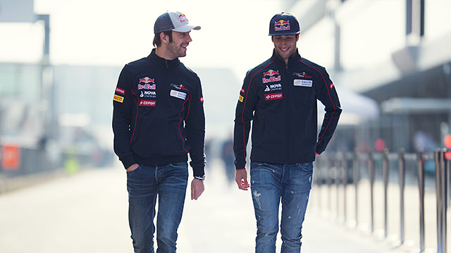 Daniel Ricciardo and Jean-Éric Vergne walk and talk