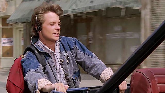 Marty McFly hitches a ride with a jeep