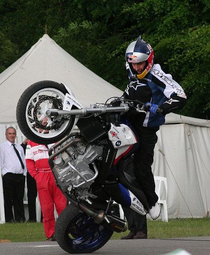 Chris Pfeiffer on his Stunt Bike