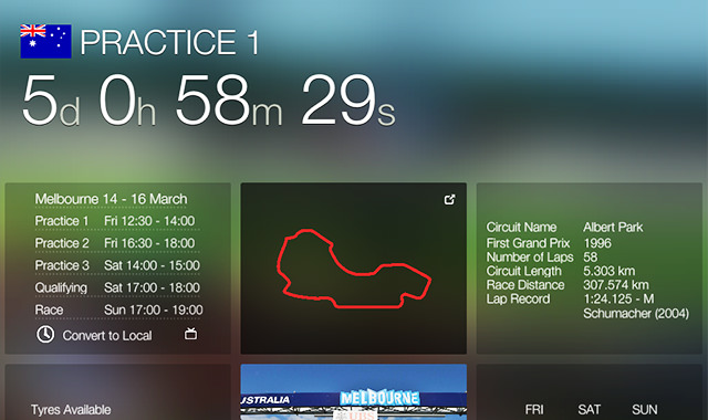 iPad screenshot of the Official F1 App