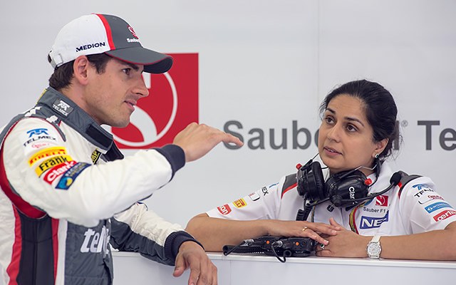 Sutil in the Sauber garage with Monisha
