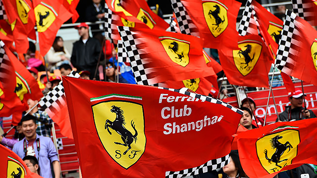 Fans wave Ferrari flags in China