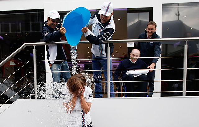 Claire Williams soaked for the Ice Bucket Challenge