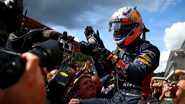 Daniel Ricciardo snatches victory from squabbling Mercedes in Spa