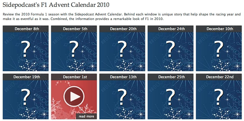 sidepodcast 39 s 2010 f1 advent calendar reviewing the