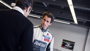Adrian Sutil gets fitted for his new Sauber seat