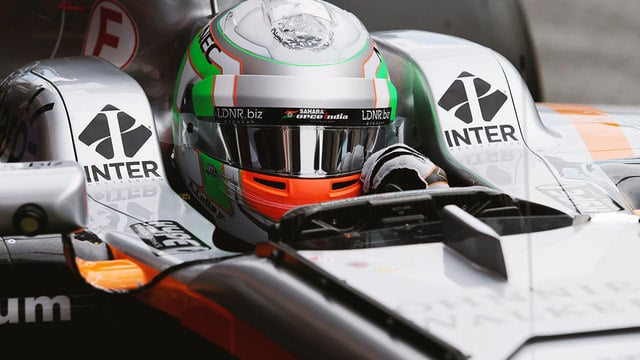 Alfonso Celis gives the Force India a run