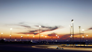 Floodlit Bahrain circuit during pre-season testing