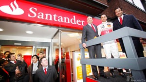 Hamilton helps promote the Santander brand in the UK