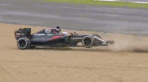 Alonso bounces across the gravel