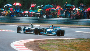 Damon Hill races Michael Schumacher