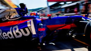 Kvyat suffers brake fire in another tricky practice