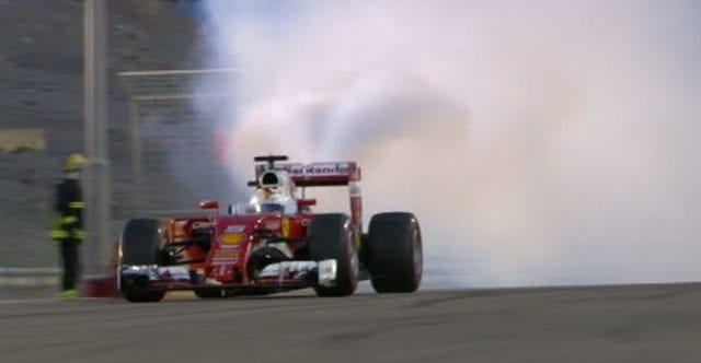 Vettel's engine goes boom
