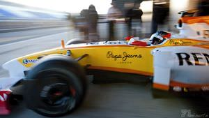 Bertrand Baguette tests the Renault in Jerez