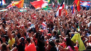 Italian fans invade the track to celebrate a great race and a Vettel victory