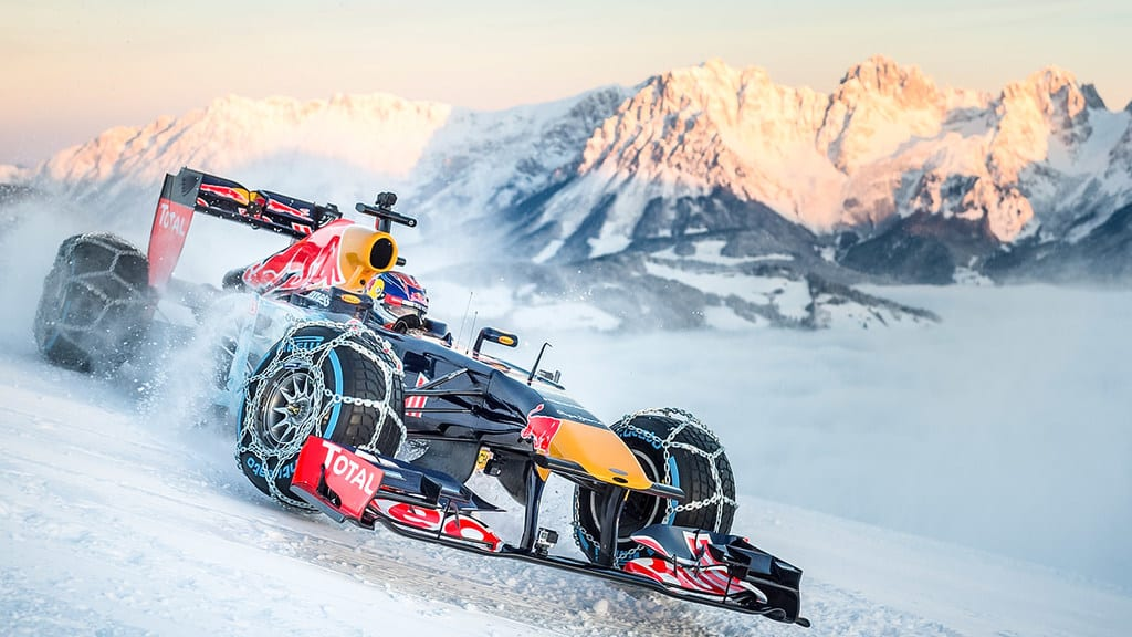 Verstappen heads to the slopes for a spot of car-skating