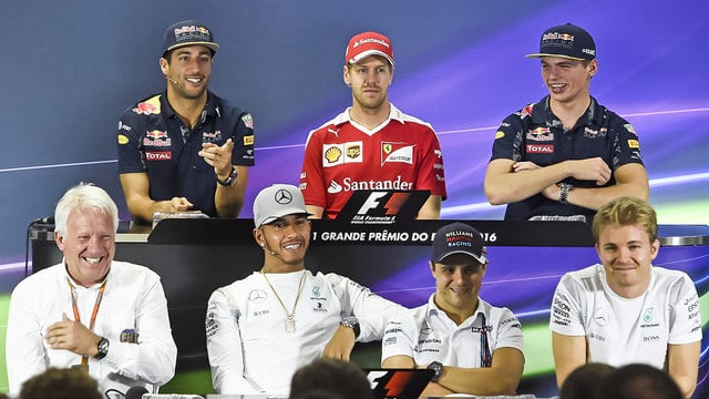 Drivers and Charlie Whiting take part in an F1 press conference