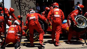 Ferrari perform a pitstop in Valencia