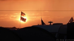 A rare sighting of the sun for British fans camping at Silverstone