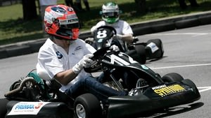Kubica and Heidfeld in karts