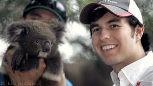 Sergio Pérez prepares for Australia with a furry friend