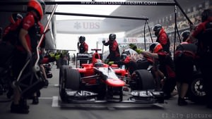Marussia investigate the front wing after Glock crashes in practice in China