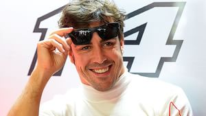 Alonso at ease in the Ferrari garage, Germany