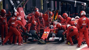 Ferrari minimise the damage after double punctures