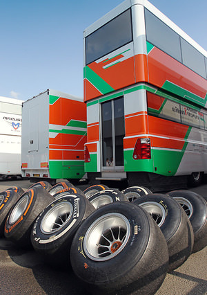 Force India motorhome and tyres, Silverstone