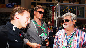 Christian Horner, Josh Hartnett and George Lucas in Monaco