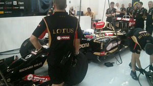 Grosjean in the garage