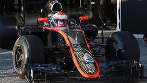 Jenson Button straight out on track in the McLaren-Honda at the start of Day Two in Jerez