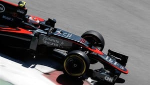 Jenson Button stops on track during final practice