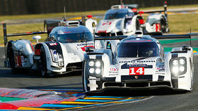 This is it, the big race! A whole year of waiting is now over. The return of Porsche, and yes Webber too. Toyota starts as favourites and Audi are playing it safe but this is Le Mans and anything can happen. GTE Pro is worth a look, pro drivers in Astons vs Ferraris vs Porsches vs Corvettes always is. Throw in a huge LMP2 and GTE Am field of pro-am cars meaning traffic-management will be crucial. And don't forget to follow the Nissan ZEOD, which is like the Delta Wing but is a hybrid. Get ready your cheese baguettes, pain au chocolat and a glass or three of wine, for tonight we journey to the centre of France.