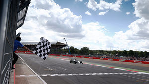 Chequered flag for Hamilton at home