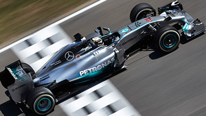 Hamilton crosses the finish line in Barcelona