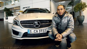 Lewis Hamilton drops in for day one at the Mercedes Benz factory